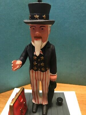 Vintage Mint Condition new old stockOld Time Uncle Sam Mechanical Plastic Bank
