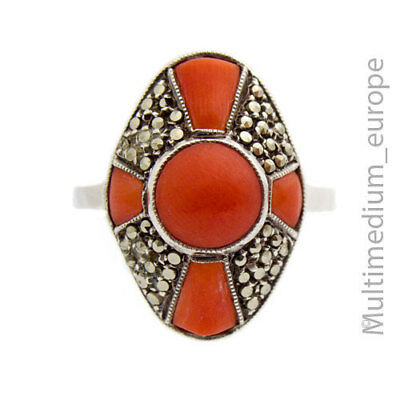 Art Deco Silber Ring Koralle Markasiten silver ring coral marcasites 🌺🌺🌺🌺🌺