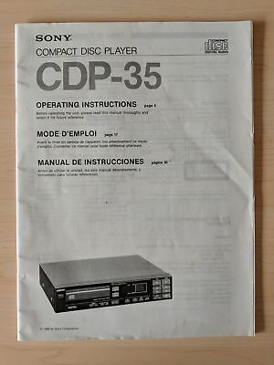 Sony CDP-35 User Manual Operation Instructions