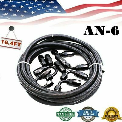AN6-6AN 16.4FT Nylon Stainless Steel Braided Oil Fuel Line&Fitting Hose Kit USA