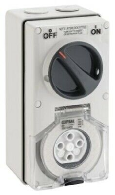 Clipsal 56-SERIES SWITCHED SOCKET 500V 4-Pin Round, Interlocked GREY- 20A Or 32A