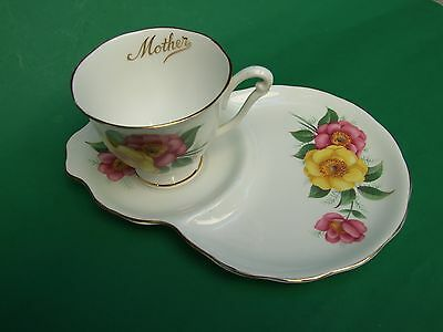 "Queen Anne Fine Bone China England ""Mother""  Tennis Cup Plate Set High Tea"