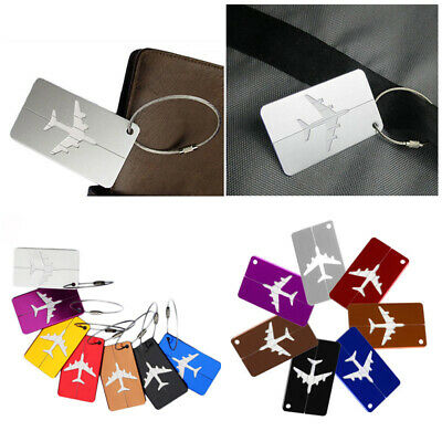Travel Plane Aluminium Alloy Luggage Baggage Tags Suitcase Address Label Holder