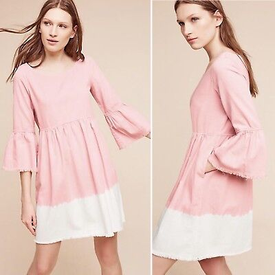 642430fa4dd5 Holding Horses Lilibet Dip Dye Peasant Dress Size 10 Anthropologie Ombre  Fringe