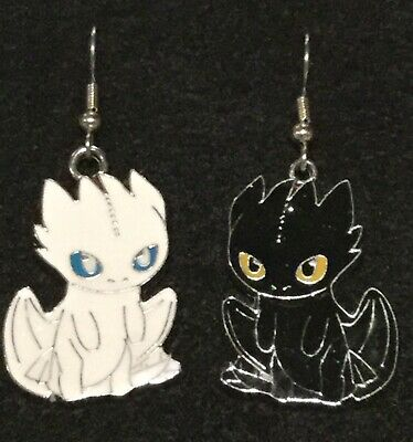 LIGHT FURY & TOOTHLESS Earrings Surgical New How to Train Your Dragon Night Mix