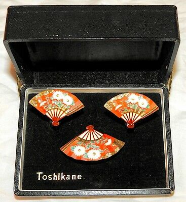 Toshikane Brooch Earrings Set IOB Red Fans with White Flowers Signed Vintage