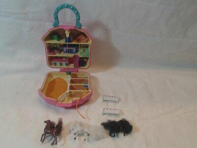 Vintage Polly Pocket Clone Happy Trails Club Stable Horses Playset