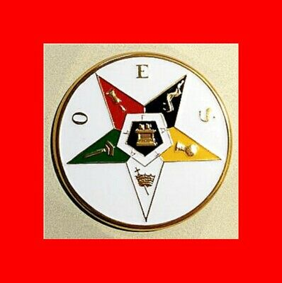 "☆New O.e.s.oes Large 3""The Order Of Eastern Star Auto Badge Masonic Car Emblem!☆"