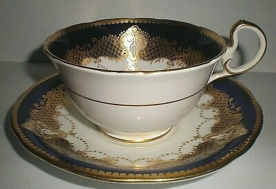 Vintage Aynsley 8004 Blue And Gold Tea Set Cup And Saucer [U]