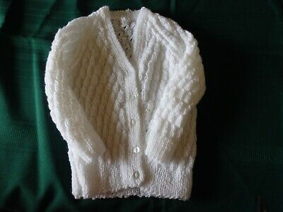 NEW - Hand knitted baby cardigan - white size 2