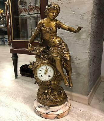 Antique 19 Th. Century Decorative Art French Young Girl Statue Clock. 53 Cm