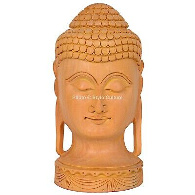 VINTAGE INDIAN BUDDHA Statue Hand Carved Wooden Figurine
