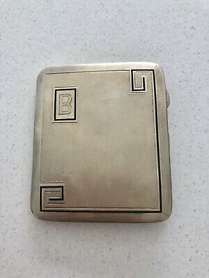 A Silver Hallmarked Deco Style Cigarette Case Which Has Blue Enamel On.