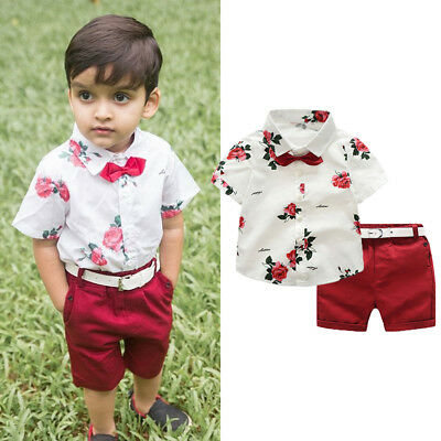 US Toddler Baby Boy Formal Suit Flower Dress Shirt+Shorts Summer Outfits Clothes