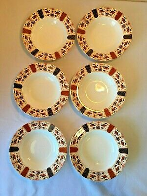 Set Of 6 Queen's Imari China Rimmed Soup / Cereal Bowls / Made In India