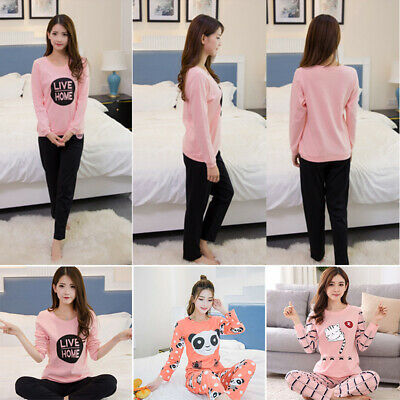 Women Autumn Cartoon Long Sleeve Pajamas Sets Cute Sleepwear Cotton Home Wear