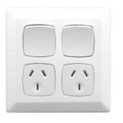Clipsal PRESTIGE P2000 TWIN SWITCHED SOCKET 10A 250V 3-Pin, Shutter WHITE