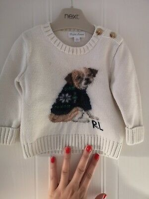 RALPH LAUREN BOYS age 9 Months Baby Dog Sweatshirt Sweater top Ivory Long Sleeve
