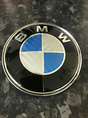 New Bmw Carbon Fibre Blue White  82Mm Bonnet Boot Badge E30 E46 E36 E90 E60 X5
