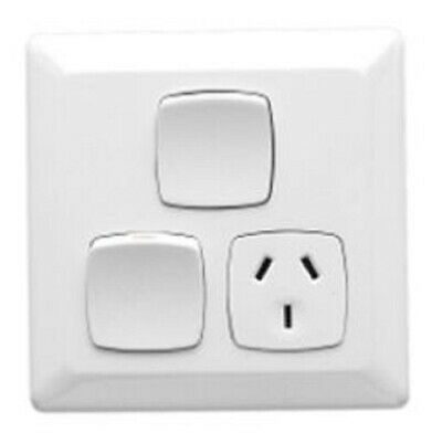 Clipsal PRESTIGE P2000 SINGLE SWITCHED OUTLET 250V 10A 3-Pin, Extra Switch WHITE