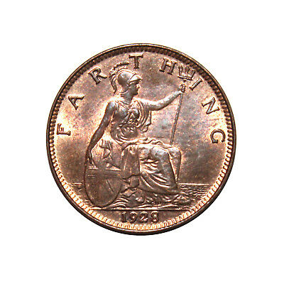 KM# 825 - One Farthing - George V (Modified Effigy) Great Britain 1928 (UNC)