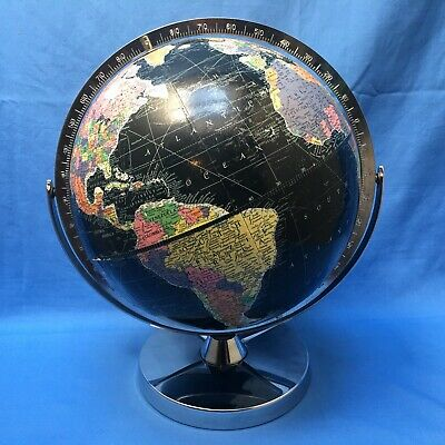 Vintage Black Replogle Starlight World Globe