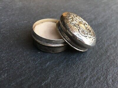 Antique Solid Sterling Silver Embossed Pill Pot
