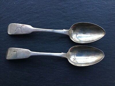 Pair Of Antique Georgian Solid Sterling Silver Irish Fiddleback Table Spoons
