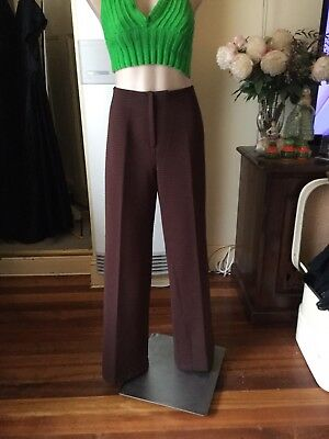 Vintage Crimplene Chocolate Brown High Waist Pants Size 20 Wide Leg