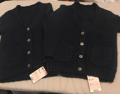 Two Mothercare Knitted  Girls Navy Blue Cardigan - 3 Years