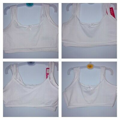 Primark 5 White Girls Seamfree Cropped Vest Top First Bra Age 7-11 Bnwt Freepost