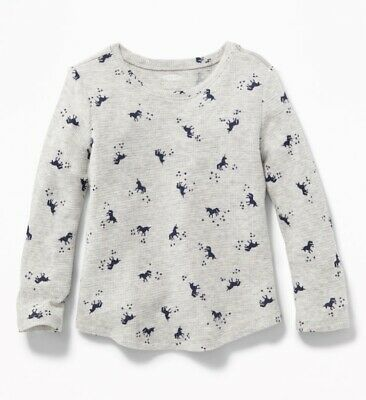 old navy Printed Thermal-Knit Tee for baby girl, 12-18 months, gray, NWT