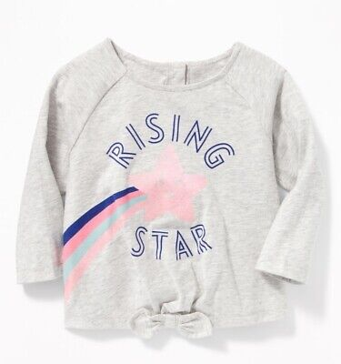 old navy Graphic Bow-Tie Hem Tee for Baby Girl, size 6-12 months, gray, NWT