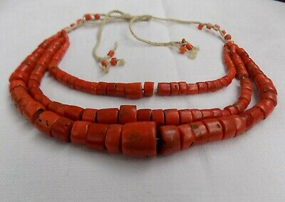 Authentic Hutsul coral antique necklace 18thC 112g large bead 17,5mm VERY RARE
