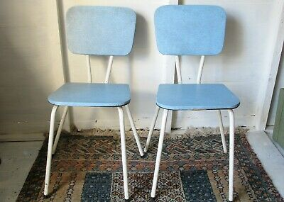Vintage Mid Century Formica Kitchen Stacking Chairs x 2 Blue Vinyl 50s 60s