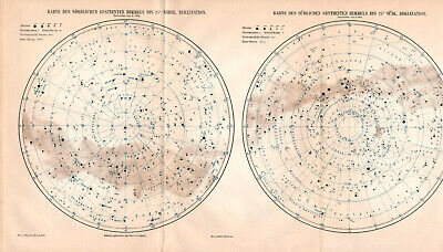 Antique map. STAR MAP. STARS OF THE NORTHERN & SOUTHERN SKY. c 1905
