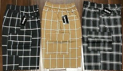 KARIZMA Mens Plaid Checker Cargo Shorts Elastic Waist Size M-2XL BRAND NEW