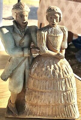 Antique Hand Carved Wooden Folk Art Colonial Couple Hand Painted Pine