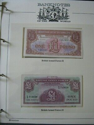 British Armed Forces Banknotes 2x UNC £1 Pound (3d & 4th Series) in Album Page