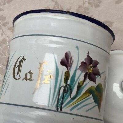 Vtg 1920 FRENCH ENAMELWARE CAFE CANISTER POT Purple Floral maybe JAPY Coffee Set