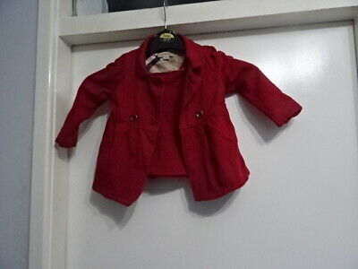 Girls Burberry Double Bleaded Cotton Long Sleeve Red Dress Age 2/ 86 cm