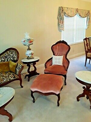 Antique Parlor Chair Pink Blush with matching Ottoman