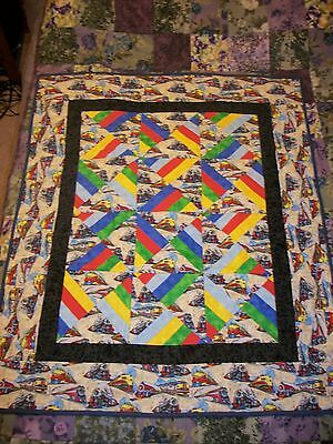 Baby Quilt Hourglass Pattern Train Print