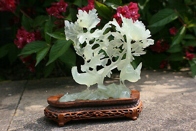 Chinese Jadestone Carved Flowers & Bird Figure with Wooden Stand Ornament