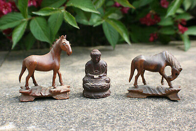 2 Pcs Chinese Wooden Carved Miniature Horse Figure & 1 Pc Buddha Figure Statue