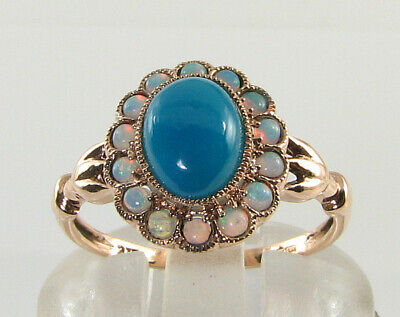 9K 9Ct Rose Gold Persian Turquoise Opal Art Deco Ins Cluster Ring Free Resize