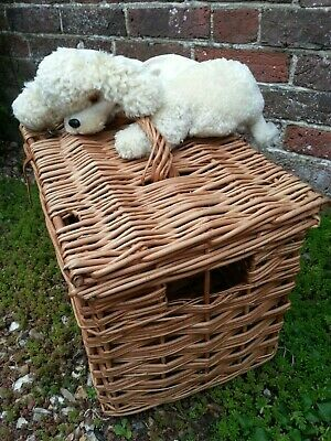 Vintage wicker basket ANIMAL CARRIER with handle - dog cat poultry SHOP DISPLAY