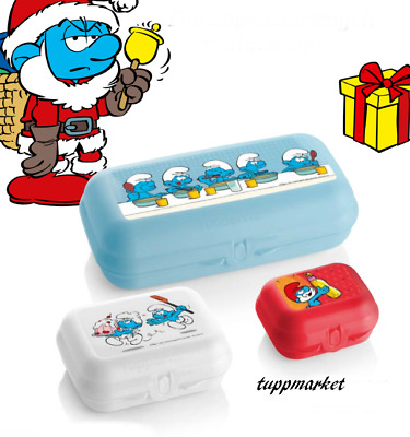 TUPPERWARE SMURFS Oyster Trio Set 3 x Storage Boxes Special Offer