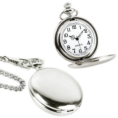 Pocket Watch Chain Quartz Battery Operated Pocketwatch Classic Round Silver NEW