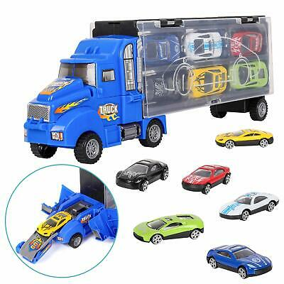 Transport Truck Toy Car Transporter with 12 Colorful Mini Metal Cars for Boys
